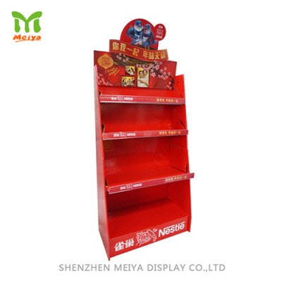 Automatic folding Floor Standing Cardboard Display Stand, Grocery, Supermarketpromotion cardboard display