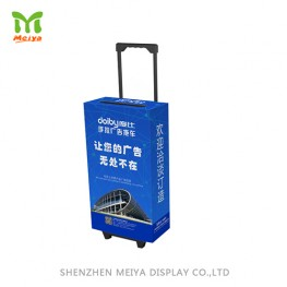 cardboard trolley suitcase for trade show with sliding handle