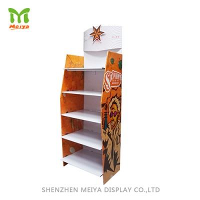 Custom Design 5 Tiers  Cardboard Display Shelf Cardboard for Grocery Store